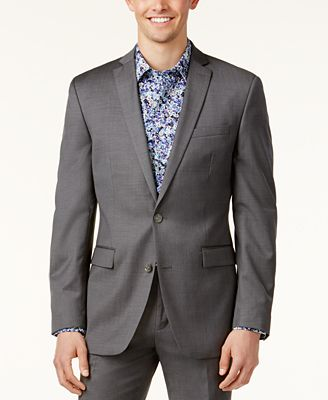 Bar III Mid-Grey Pindot Slim-Fit Jacket - Suits & Suit Separates ...