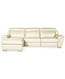 julius 3 pc leather sectional sofa with chaise with 1 power recliner created for. Interior Design Ideas. Home Design Ideas