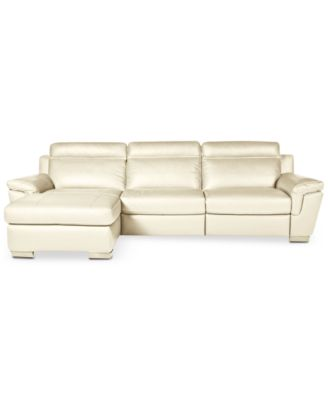 Julius 3 Pc Leather Sectional Sofa With Chaise And 1 Power Recliner,