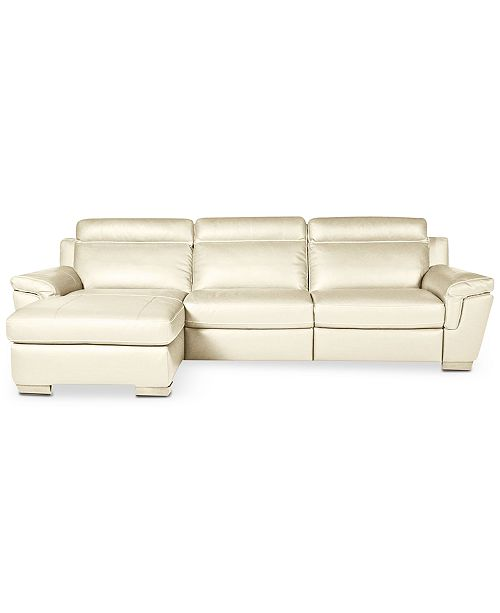 Furniture CLOSEOUT! Julius 3-pc Leather Sectional Sofa with ...
