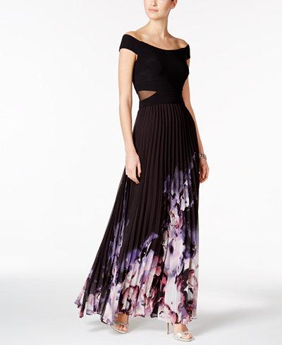 XSCAPE Off-The-Shoulder A-Line Gown