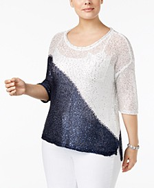 Plus Size Colorblocked Sequin-Knit Sweater
