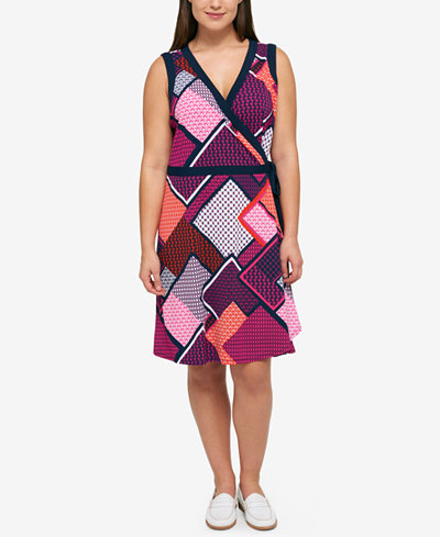 Tommy Hilfiger Plus Size Geo-Print Wrap Dress
