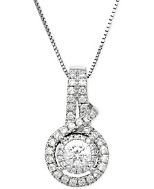 Diamond Halo Cluster Pendant Necklace (1/2 ct. t.w.) in 14k White Gold