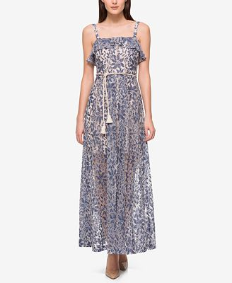 Jessica Simpson Denim Illusion Lace Maxi Dress - Dresses - Women ...