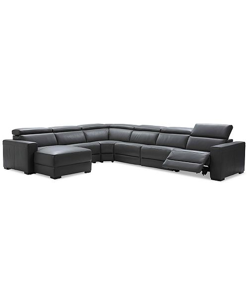 Nevio 6-pc Leather Sectional Sofa with Chaise, 1 Power Recliner and  Articulating Headrests, Created for Macy\'s