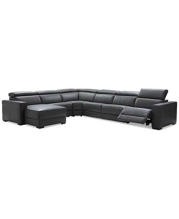 Furniture Nevio 6-pc Leather Sectional Sofa with Chaise, 1 Power Recliner and Articulating Headrests, Created for Macy's