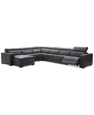 Nevio 6 Pc Leather Sectional Sofa With Chaise, 1 Power Recliner And  Articulating Headrests
