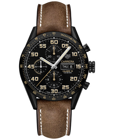 TAG Heuer Men's Swiss Automatic Chronograph Carrera Calibre 16 Brown Leather Strap Watch 43mm