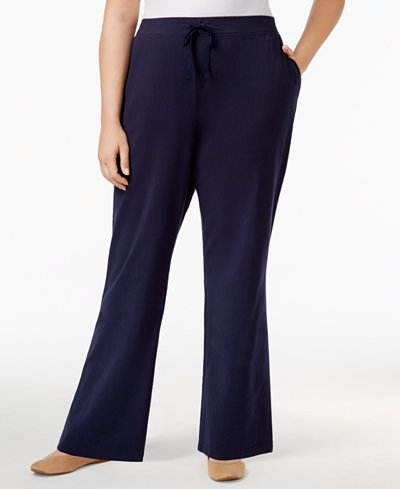Karen Scott Plus Size High-Rise Knit Pants, Created for Macy's ...