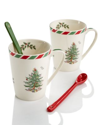 Candy Cane Set of 2 Mugs with Spoons, Created for Macy's