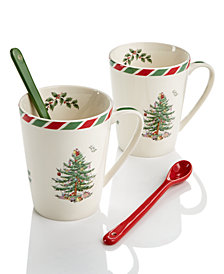 Spode Candy Cane Set of 2 Mugs with Spoons, Created for Macy's