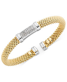 Diamond Accent Mesh Bangle Bracelet in 14k Gold-Plated Sterling Silver