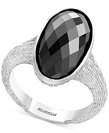 EFFY® Onyx Oval Textured Statement Ring in Sterling Silver