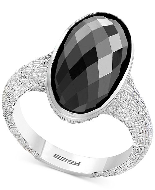 EFFY Collection EFFY® Onyx Oval Textured Statement Ring in Sterling Silver