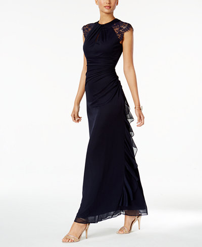 B&A by Betsy and Adam Ruched Lace-Trim Gown