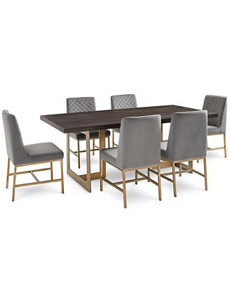 cambridge dining furniture, 7-pc. set (dining table & 6 gray side