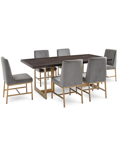 Cambridge Dining Furniture, 7-Pc. Set (Dining Table & 6 Gray Side Chairs), Created for Macy's
