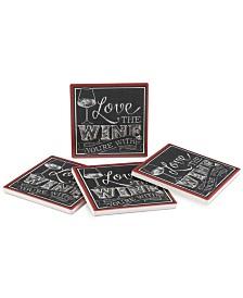 Thirstystone Love the Wine 4-Pc. Coaster Set