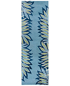 "Kas Bob Mackie Home 1002 Ice Blue Folia 2'6"" x 8' Runner Rug"