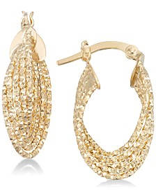 Italian Gold Textured Multi-Ring Oval Hoop Earrings in 14k Gold