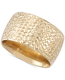 Italian Gold Textured Ultra-Wide Ring in 14k Gold