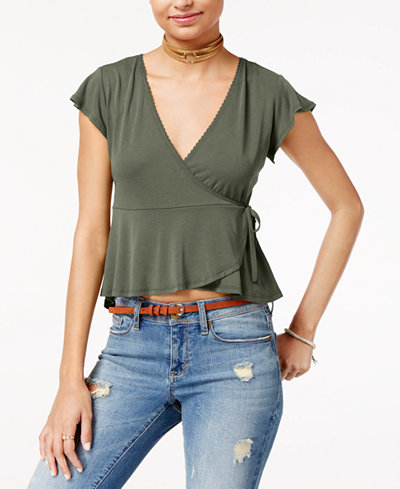 American Rag Juniors' Wrap-Front Flutter-Sleeve Top, Created for Macy's