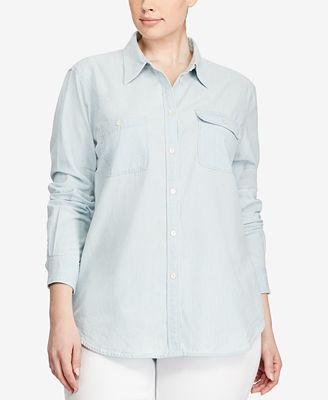 lauren ralph lauren plus size chambray shirt - tops - plus sizes