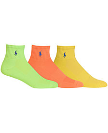 Ralph Lauren Men's Socks, Athletic Quarter 3 Pack