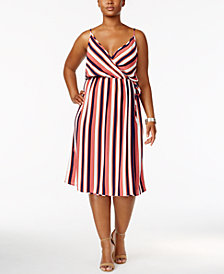 Soprano Trendy Plus Size Striped Faux-Wrap Dress