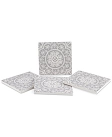 Woodblock Pattern 4-Pc. Coaster Set