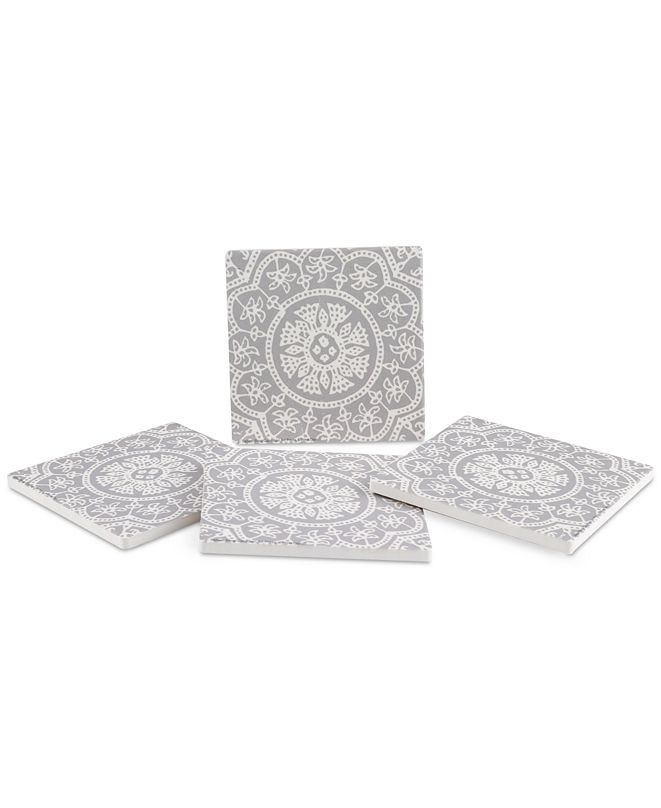 Thirstystone Woodblock Pattern 4-Pc. Coaster Set