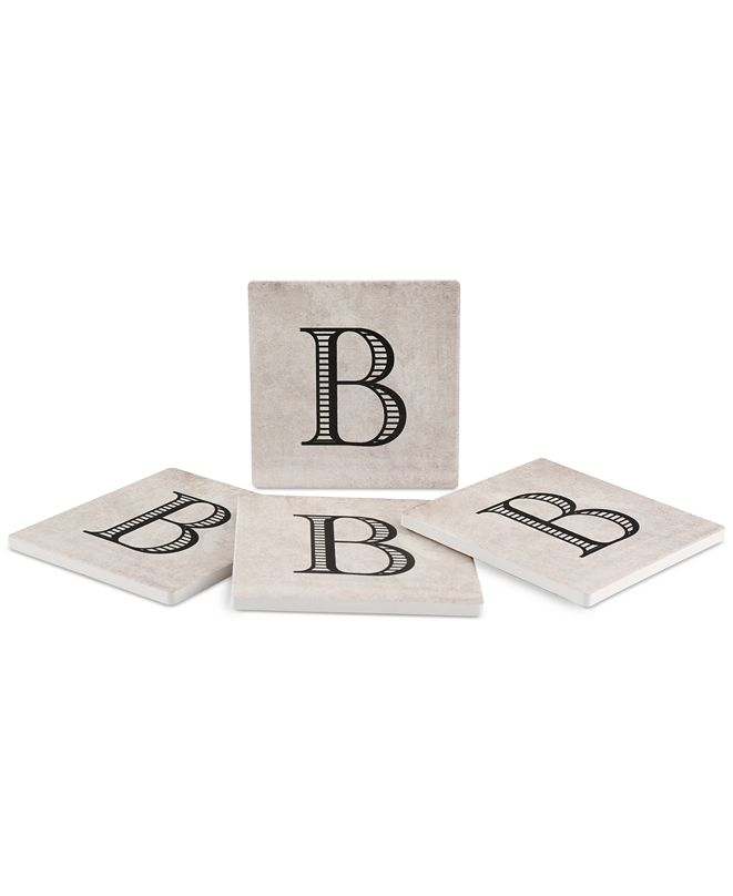 Thirstystone Vintage Monogram 4-Pc. Coaster Set