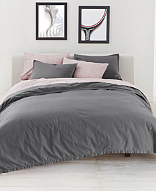 CLOSEOUT! Lacoste Home Relaxed & Washed  Castle Rock Light Gray Bedding Collection