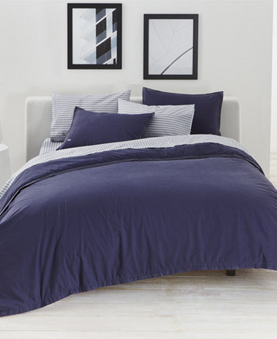 CLOSEOUT! Lacoste Home Relaxed & Washed Indigo Blue Bedding Collection