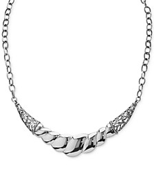 Wide Filigree Rope-Style Statement Necklace in Sterling Silver