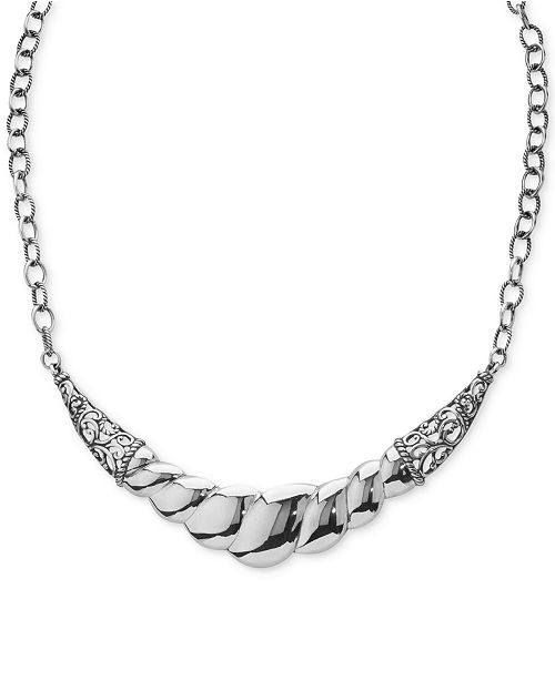 Carolyn Pollack Wide Filigree Rope-Style Statement Necklace in Sterling Silver