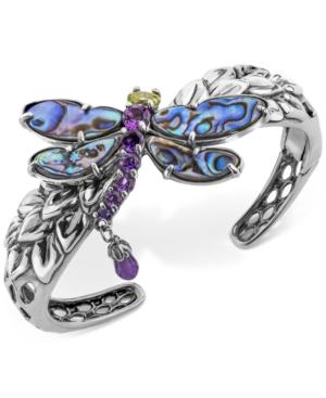 Multi-Gemstone Dragonfly Bangle Bracelet (9-3/4 ct. t.w.) in Sterling Silver