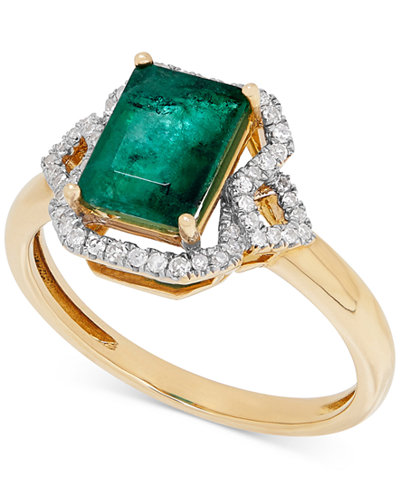 Emerald (1-3/4 ct. t.w.) and Diamond (1/6 ct. t.w.) in 14k Gold