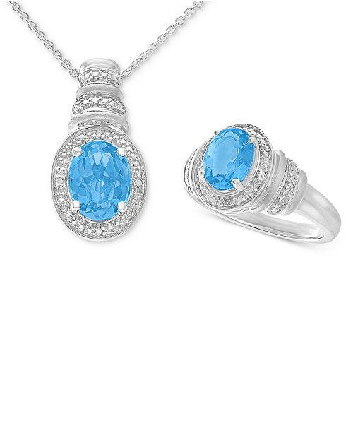 Macy's Swiss Blue Topaz (3 ct. t.w.) & Diamond Accent Pendant Necklace and Matching Ring Set in Sterling Silver