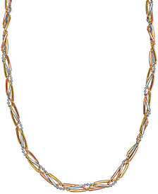 Tri-Color Bar & Bead Link Collar Necklace in 14k Gold, White Gold & Rose Gold