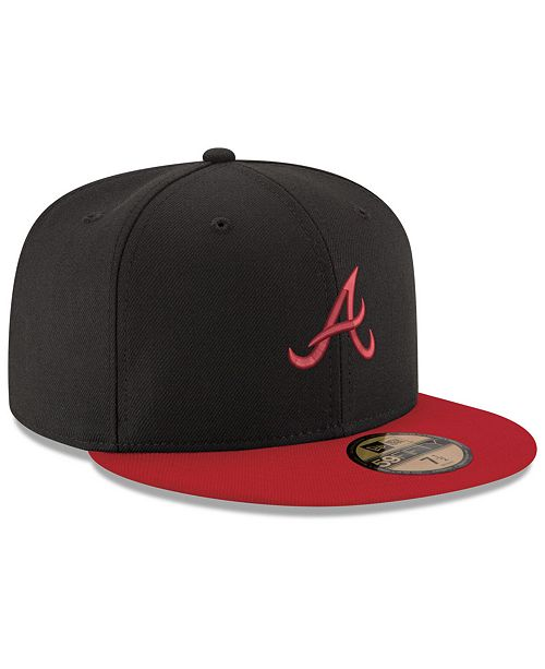 official photos e8c1d 1dfce ... Fitted Cap  New Era Atlanta Braves Black   Red 59FIFTY Fitted ...