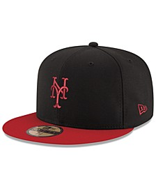 New York Mets Black & Red 59FIFTY Fitted Cap