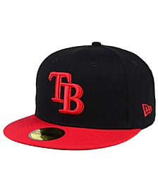 Tampa Bay Rays Black & Red 59FIFTY Fitted Cap