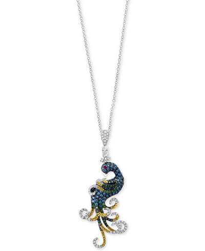 Bella Bleu by EFFY® Diamond (1-1/10 ct. t.w.) and Ruby Accent Pendant Necklace in 14k White Gold