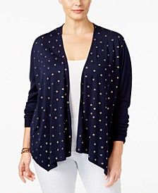 Plus Size Embellished Open-Front Cardigan