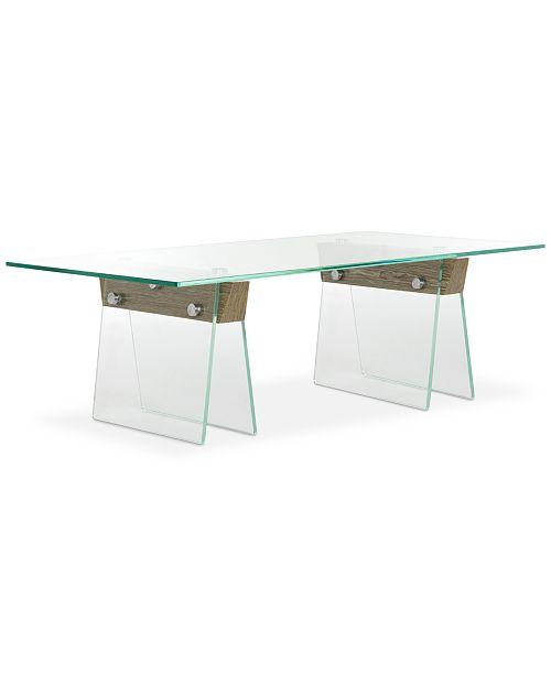 Furniture Modern Glass Loft Coffee Table, Quick Ship