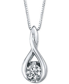 Sirena Diamond Twist Pendant Necklace in 14k Gold or White Gold (1/5 ct. t.w.)