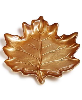 Martha Stewart Collection Harvest Gold Leaf Appetizer Plate, Created for Macy's