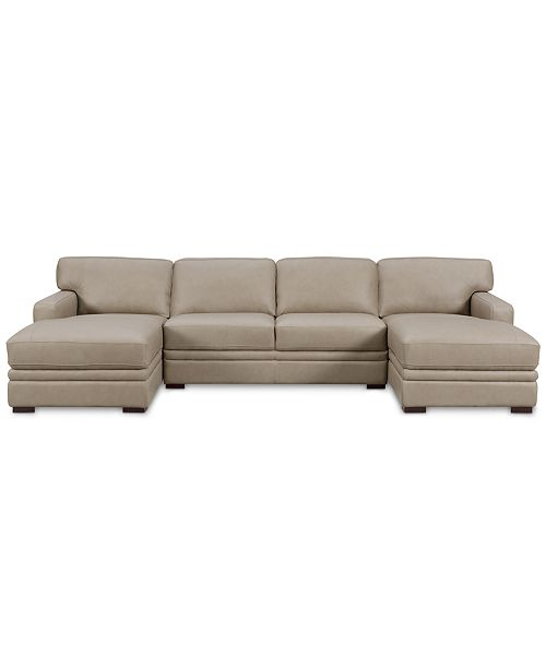 Furniture Avenell 3 Pc Leather Sectional With Double
